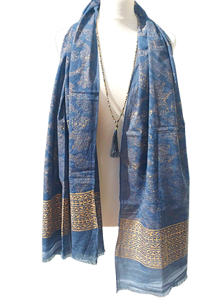 panuelo pareo azul bronce india hippie